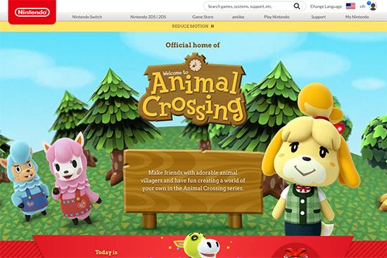 Screen grab of the Animal Crossing web site